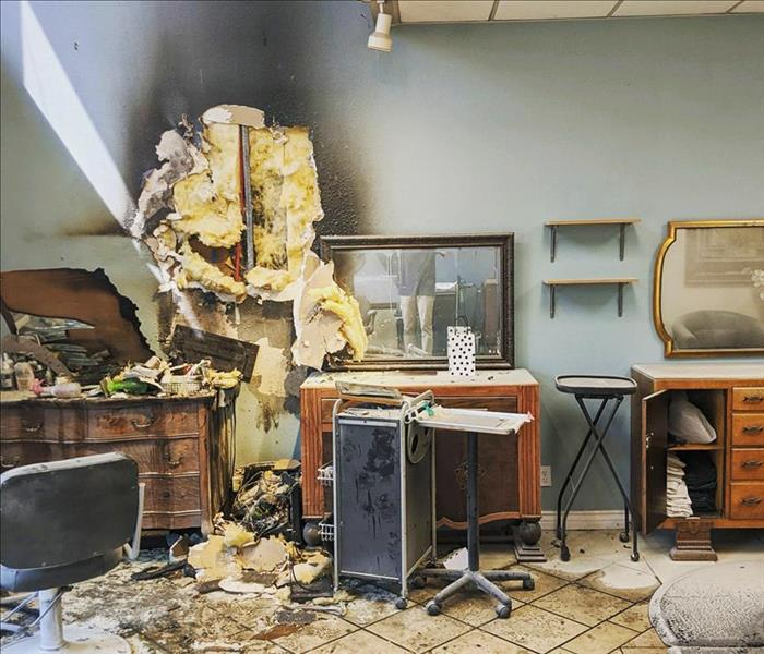 The aftermath of a fire in a San Diego salon