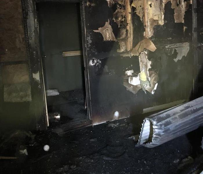 Interior of a commercial building after a fire.